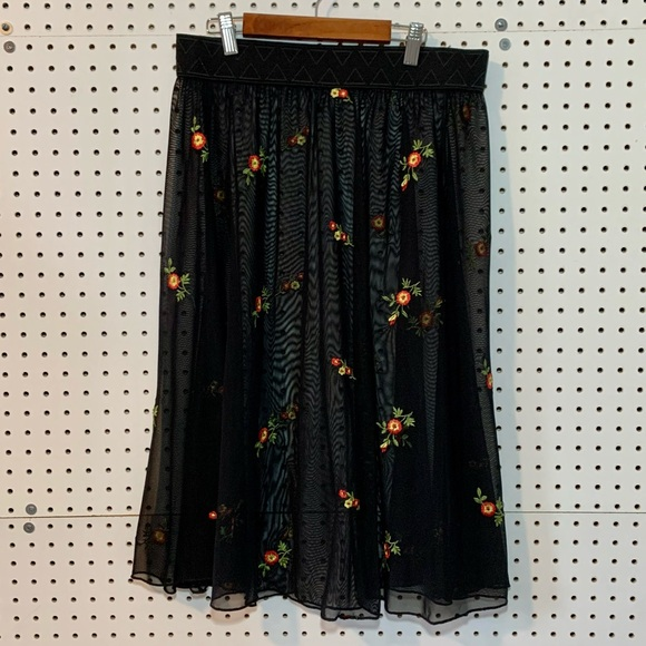 Sheer floral embroidered midi skirt